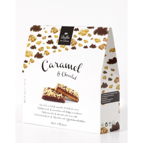 Caramel, chocolat au lait &amandes &éclats de cacao 200 g (Dolfin)