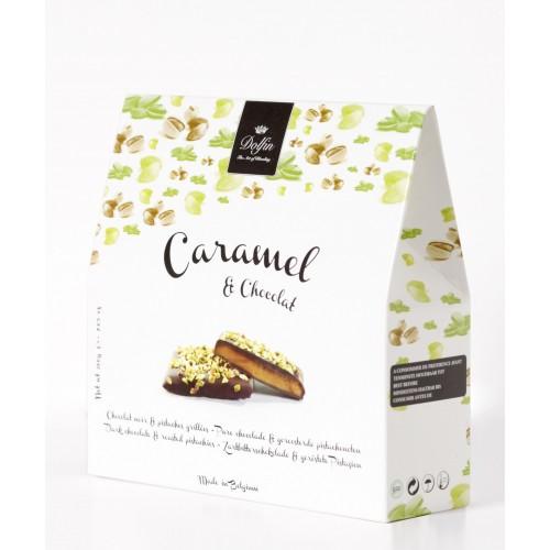 Caramel, chocolat noir & pistaches grillées 200 g (Dolfin)