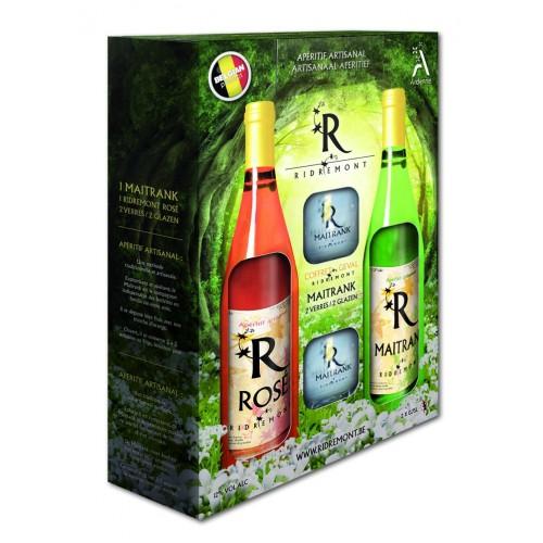 Coffret 1 Maitrank et 1 rosé 75 cl + 2 verres (Ridremont)