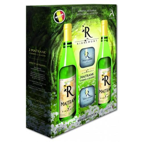 Coffret 2 bouteilles de Maitrank  75 cl + 2 verres (Ridremont)