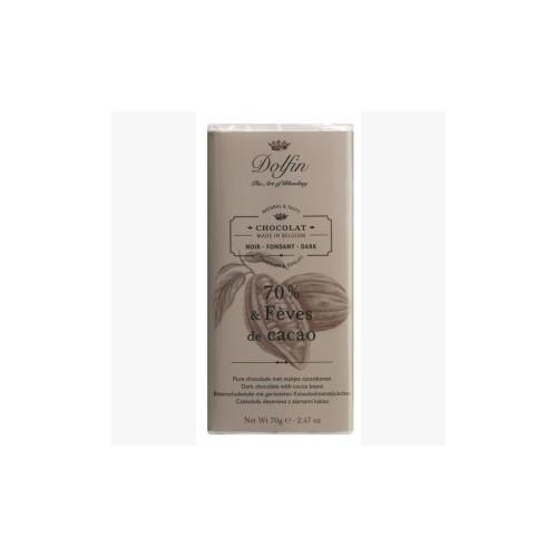 Chocolat noir 70% aux éclats de fèves de cacao 70g (Dolfin)