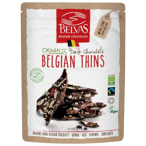 Belgian thins 85% cacao bio & Fairtrade 120 g (Belvas)