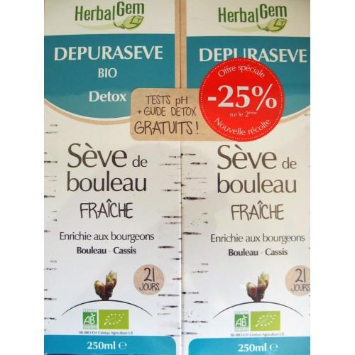 Dépurasève bio - sève de bouleau 2 x  250 ml (Herbalgem)