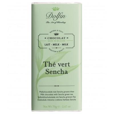 Melk chocolade met sencha groene thee 70 g (Dolfin)