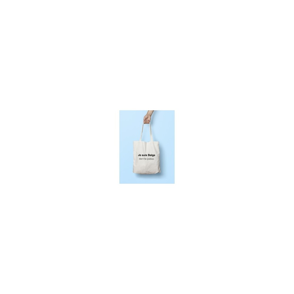 Tote bag je suis belge don't be jaloers - wit