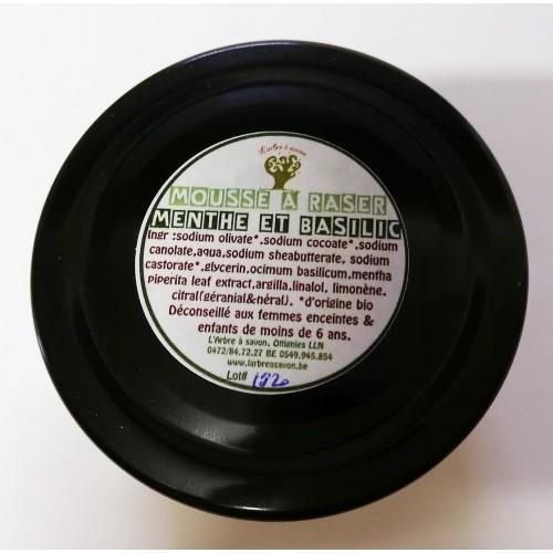 Mousse à raser, menthe et basilic 100 g (l'Arbre à savon)