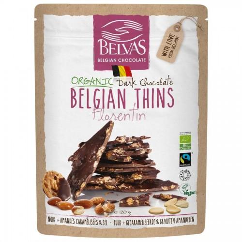 Belgian thins melkchocolade 36%, kokos, amandelen en zout bio 120 g  (Belvas)