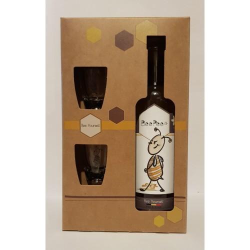 """Coffret Pipi d'abeille """"Petite Ruche entre amis""""1 bouteille 50 cl + 2 verres"""