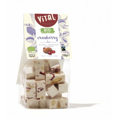 Bio/Fairtrade nougat amandel & cranberries 150 g (Vital)