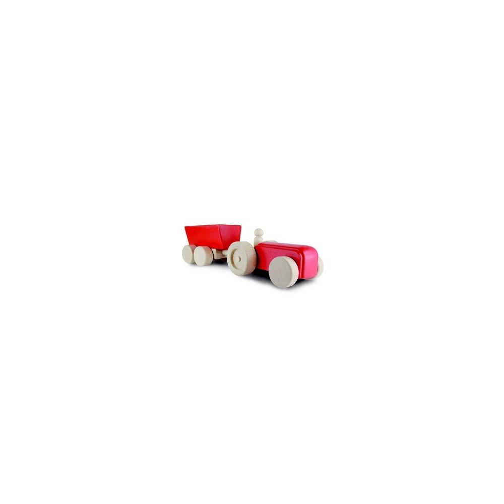 Tracteur rouge avec remorque basculante et petit bonhomme/Le Roi