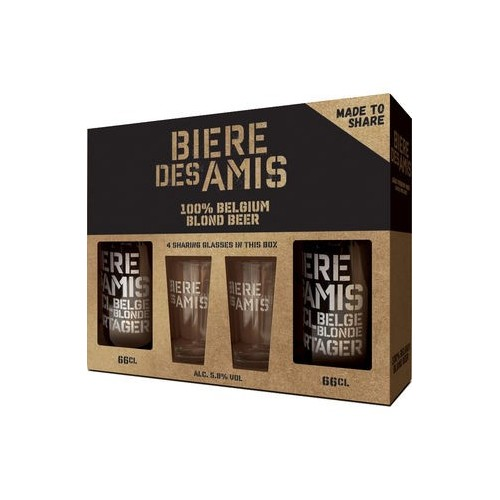Koffer bière des amis 66 cl + 2 glazen