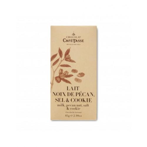 Tablette de chocolat au lait avec noix de pécan, sel et cookies (Café-Tasse)
