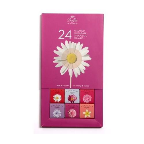 Boite 24 carrés gourmands 5 g Fleurs DLC 31/01/2019 (Dolfin)